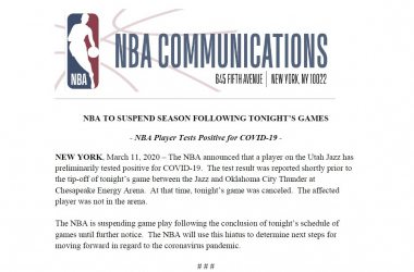El coronavirus azota la NBA: se suspende la temporada