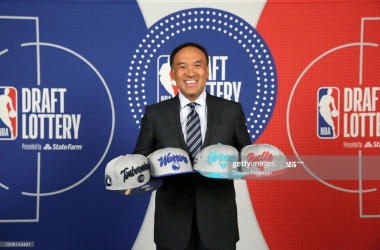 <div>SECAUCUS, NJ - AUGUST 20: Deputy Commissioner of the NBA, Mark Tatum holds up the team hats of the Golden State Warriors, Minnesota Timberwolves, Charlotte Hornets and Charlotte Hornets during the 2020 NBA Draft Lottery on August 20, 2020 at the NBA Entertainment Studios in Secaucus, New Jersey. NOTE TO USER: User expressly acknowledges and agrees that, by downloading and/or using this photograph, user is consenting to the terms and conditions of the Getty Images License Agreement. Mandatory Copyright Notice: Copyright 2020 NBAE (Photo by Steven Freeman/NBAE via Getty Images)</div><div><br></div>