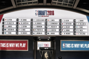 A general view of the draft board following the first round of the 2018 NBA Draft at the Barclays Center. |Brad Penner-USA TODAY Sports|