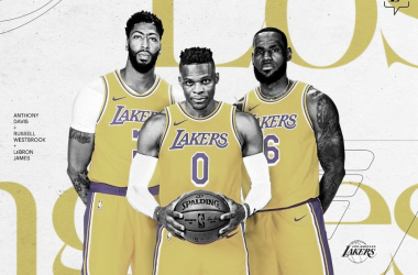Anthony Davis, Russell Westbrook y LeBron James, el 'Big Three' de los Lakers | Foto: Lakers