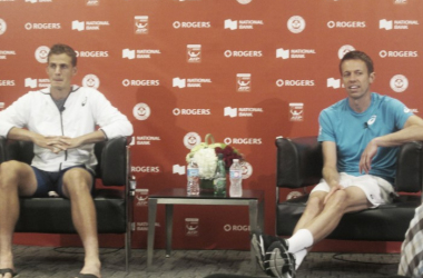 Vasek Pospisil (left) and Daniel Nestor during their post-match press conference on Thursday night. Photo: Pete Borkowski/VAVEL USA