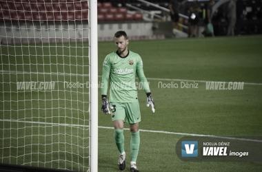 Neto, en un partido en el Camp Nou de esta temporada. Foto: Noelia Déniz.