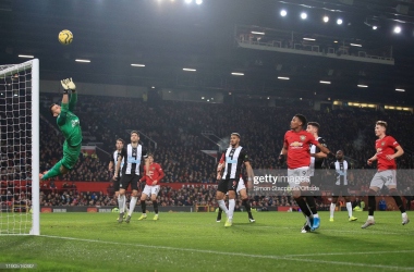 <div>Manchester United v Newcastle United - Premier League</div><div>MANCHESTER, ENGLAND - DECEMBER 26: Newcastle goalkeeper Martin Dubravka dives to make a save during the Premier League match between Manchester United and Newcastle United at Old Trafford on December 26, 2019 in Manchester, United Kingdom. (Photo by Simon Stacpoole/Offside/Offside via Getty Images)</div>