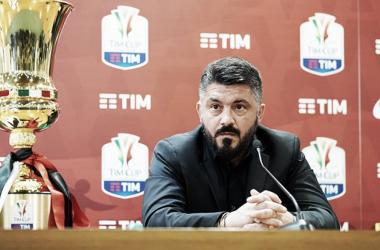 Imagen de Gattuso durante la rueda de prensa previa a la final. Foto: acmilan.com