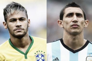 Neymar y Di María, los líderes futbolísticos de Argentina y Brasil. Foto: La Jornadanet.