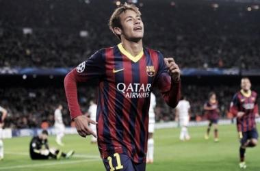 Neymar celebrates a goal against Celtic
