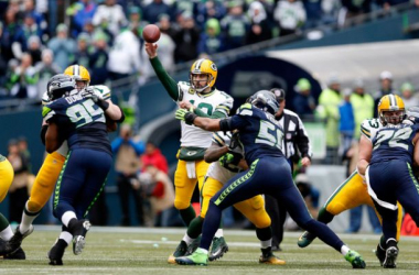 Aaron Rodgers #12 of the Green Bay Packers throws the ball in the second half against the Seattle Seahawks during the 2015 NFC Championship game at CenturyLink Field on January 18, 2015 in Seattle, Washington.(Jan. 17, 2015 - Source: Christian Peters