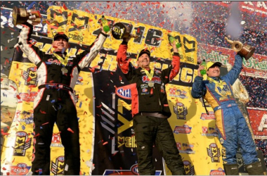 Steve Torrence (Top Fuel), Greg Anderson (Pro Stock) and Ron Capps (Funny Car) celebrate after all three won their respective event titles at the 56th annual Circle K NHRA Winternationals at Pomona Raceway in Pomona Sunday February 14, 2016. (Will Lester/