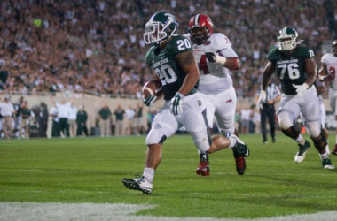 Nick Hill ran for two touchdowns in the Spartans' victory (Julia Nagy / The State News)