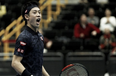 Kei Nishikori reacts during Saturday's IPTL action. Photo: IPTL