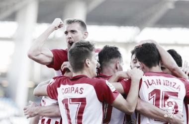 El equipo celebrando uno de los tantos del partido | Fuente: La Liga