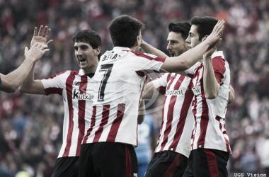 Los jugadores del Athletic celebran un gol en la actual campaña. | UGS Vision.