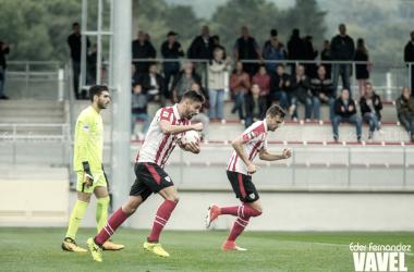 Nolaskoain celebra un gol. | FOTO: Eder Fernández
