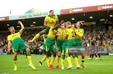 Norwich players celebrate Teemu Pukki's goal via Getty Images- Marc Atkins