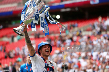 James Norwood celebrates promotion with Tranmere Rovers via Getty Images