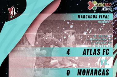 Atlas golea a Monarcas y sube al segundo lugar de la e Liga MX