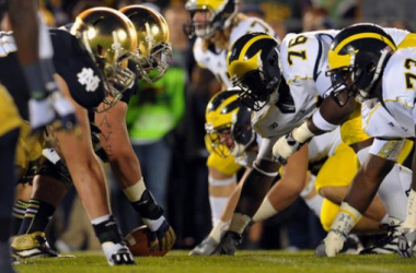 Michigan and Notre Dame are set to go head to head, literally, this week. Photo credit: Matt Cashore, USA Today Sports