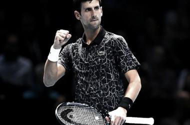 Puño apretado: Nole festeja tras un punto ganado en la gran victoria que consiguió en su debut como número 1 del mundo en el Masters. Foto: Tennis World (USA)