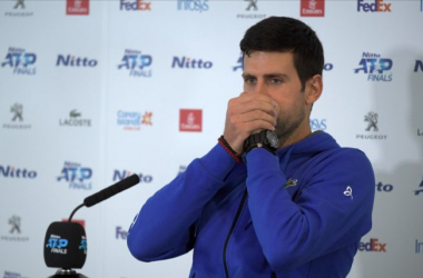 Djokovic meets the media following his defeat to Federer that ended his season/Photo: Tennis365