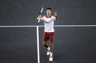 Novak Djokovic celebrates his terrific win with his trademark celebration | Photo: Shanghai Rolex Masters