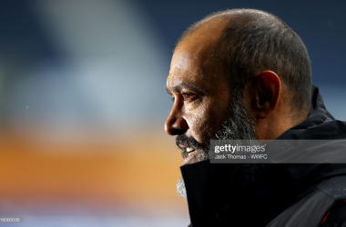 WEST BROMWICH, ENGLAND - MAY 03: Nuno Espirito Santo, Manager of Wolverhampton Wanderers looks on prior to the Premier League match between West Bromwich Albion and Wolverhampton Wanderers at The Hawthorns on May 03, 2021 in West Bromwich, England. Sporting stadiums around the UK remain under strict restrictions due to the Coronavirus Pandemic as Government social distancing laws prohibit fans inside venues resulting in games being played behind closed doors. (Photo by Jack Thomas - WWFC/Wolves via Getty Images)