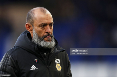 LIVERPOOL, ENGLAND - MAY 19: Nuno Espirito Santo, Manager of Wolverhampton Wanderers walks off the pitch following defeat in the Premier League match between Everton and Wolverhampton Wanderers at Goodison Park on May 19, 2021 in Liverpool, England. A limited number of fans will be allowed into Premier League stadiums as coronavirus restrictions begin to ease in the UK. (Photo by Jack Thomas - WWFC/Wolves via Getty Images)