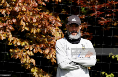 WOLVERHAMPTON, ENGLAND - MAY 18: Nuno Espirito Santo, Manager of Wolverhampton Wanderers looks on during a Wolverhampton Wanderers Training Session at Sir Jack Hayward Training Ground on May 18, 2021 in Wolverhampton, England. (Photo by Jack Thomas - WWFC/Wolves via Getty Images)