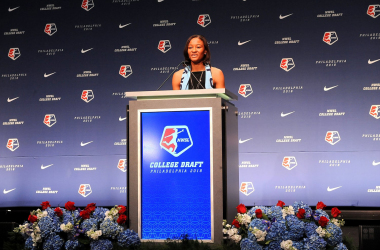 Sky Blue's Rookie of the Year, Imani Dorsey, when she got drafted in 2018. l Photo: nwslsoccer.com