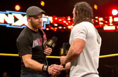 Sami Zayn and Adrian Neville shake hands. Credit: WWE.com
