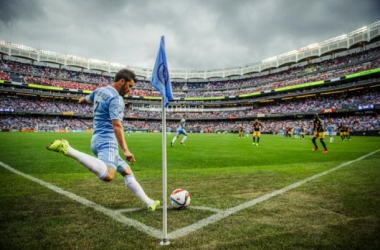 David Villa takes corner against a background of 48,000. Photo courtesy of NYCFC online.