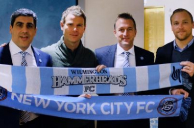 New York City FC and Wilmington Hammerheads FC Leadership. Photo courtesy of NYCFC.COM.