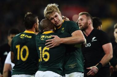 L'esultanza dei sudafricani dopo la vittoria (twitter - @Springboks)
