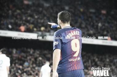Luis Suárez celebrando su gol ante el Deportivo. Foto: Noelia Déniz, VAVEL