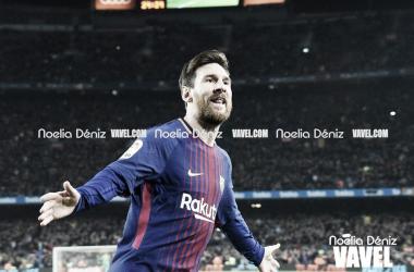 Leo Messi celebrando un gol en el Camp Nou. Foto: Noelia Déniz, VAVEL