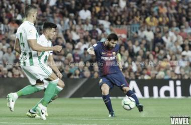 Leo Messi en el encuentro ante el Real Betis de la primera vuelta. Foto: Ernesto Aradilla, VAVEL