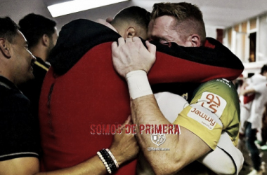 Alberto tras el partido que consiguieron el ascenso | Fotografía: Rayo Vallecano S.A.D.