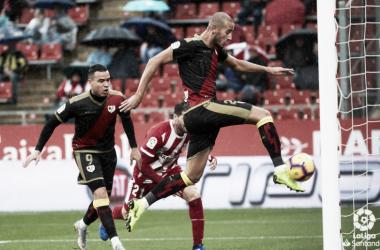 Gálvez rematando el gol ante el Girona | Fotografía: LaLiga