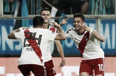 El colombiano Borré, el Pity Martínez y Enzo Pérez se relamen de alegría, luego de que el 10 de River marque el 2-1 que significó el pase a la Final de la copa más importante de clubes de Sudamérica. Foto: Web.