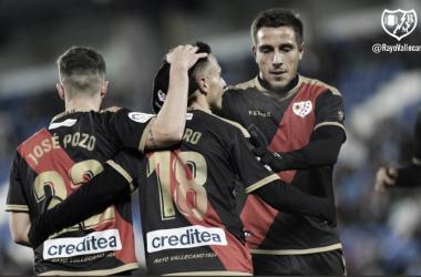 Celebración del gol de Álvaro ante el Leganés | Fotografía: Rayo Vallecano S.A.D.