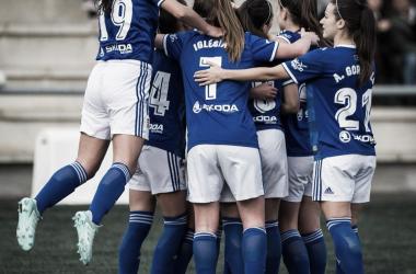 Las jugadoras del ROF celebran uno de los goles del partido. Foto: José Manuel Infiesta Alba