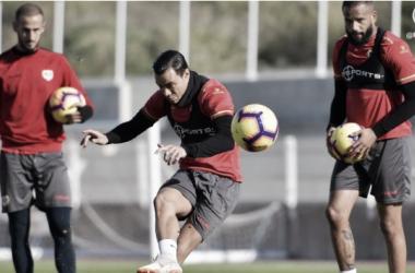 Raúl, Gálvez y Bebé en el último entrenamiento en la Ciudad Deportiva   Fotografía: Rayo Vallecano S.A.D.