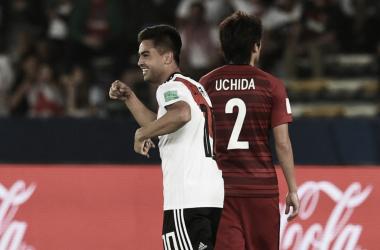 El Pity Martínez tuvo tiempo para una locura más, con un tremendo golazo de emboquillada, que significó el 4-0 ante Kashima. Foto: River Oficial.