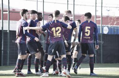 El FCB Juvenil A celebrando un gol ante el Gimnàstic de Tarragona. Foto: Noelia Déniz, VAVEL
