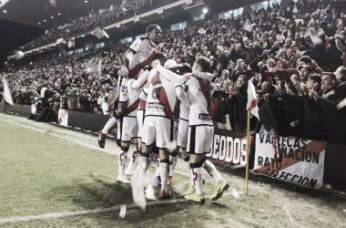 Celebración del gol de Santi Comesaña | Fotografía: Rayo Vallecano S.A.D.