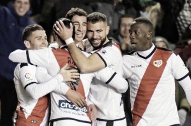 Celebración del gol de Santi | Fotografía: Rayo Vallecano S.A.D.