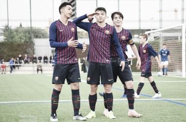 El FCB Cadete A celebrando un gol esta temporada. Foto: Noelia Déniz, VAVEL