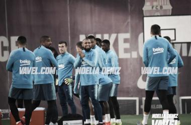 Los jugadores del FC Barcelona, en el entrenamiento. FOTO: Noelia Déniz