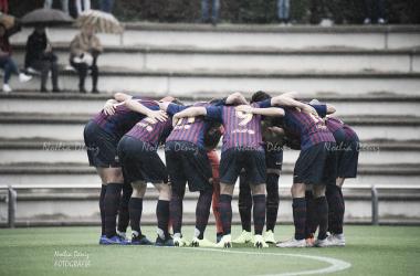 El FCB Juvenil B haciendo piña esta temporada. Foto: Noelia Déniz, VAVEL