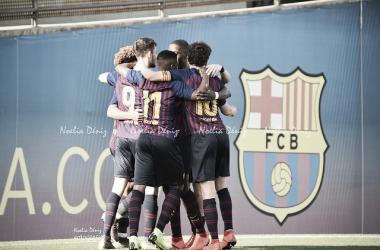 El FCB Juvenil A celebrando un gol ante el RCD Mallorca. Foto: Noelia Déniz, VAVEL