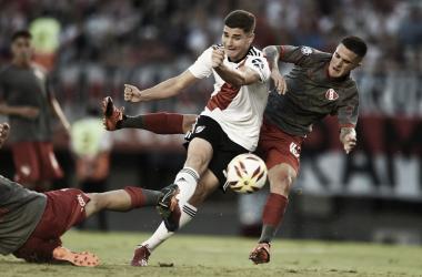 Julián Álvarez marcó su primer gol en primera división. Foto: River Oficial.